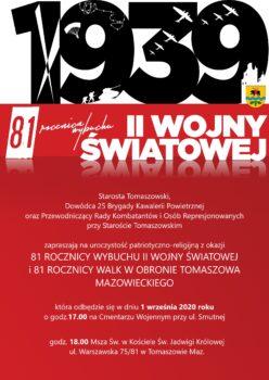 Obchody zokazji 81 rocznicy wybuchu II wojny Światowej i81 rocznicy walk wobronie Tomaszowa Maz.