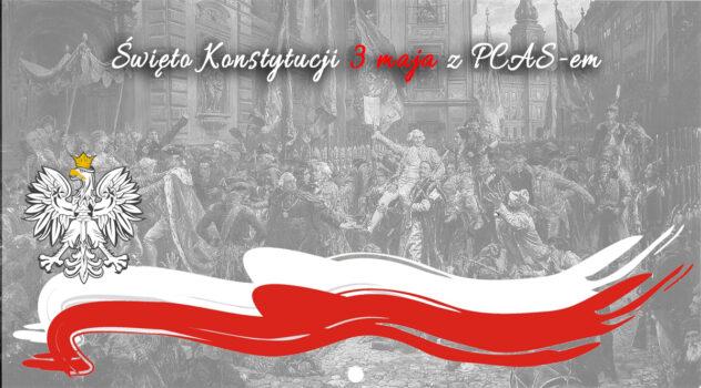 Młodzież zgrupy teatralnej PCAS oKonstytucji 3-go Maja.